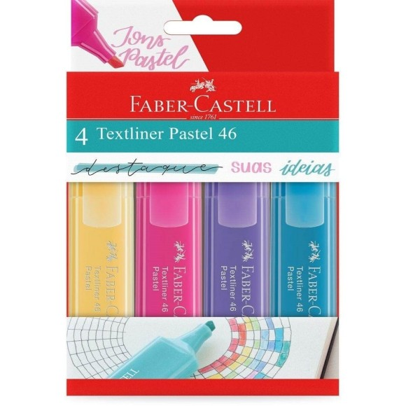 MARCA TEXTO PASTEL 4 CORES TEXTLINER FABER-CASTELL