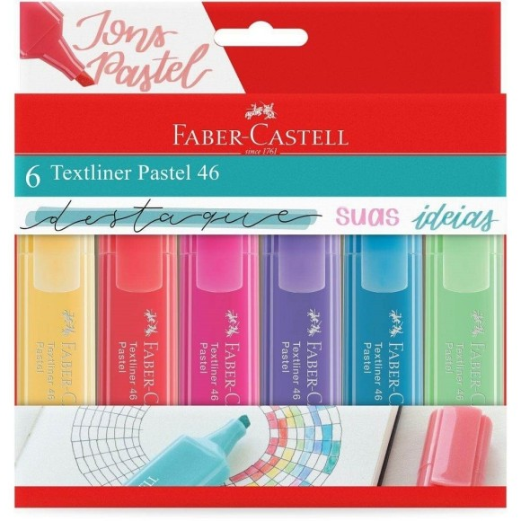 MARCA TEXTO PASTEL 6 CORES TEXTLINER FABER-CASTELL